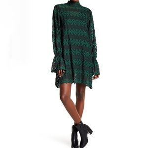 Free People Simone Mock Neck Lace Mini Dress